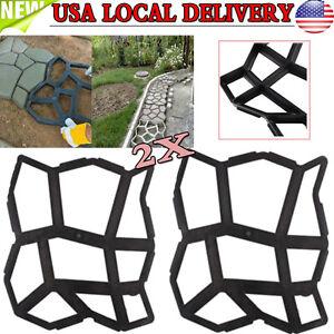 DIY-2X-Garden-Driveway-Paving-Mold-Patio-Concrete-Stepping-Stone-Walk-Maker-US