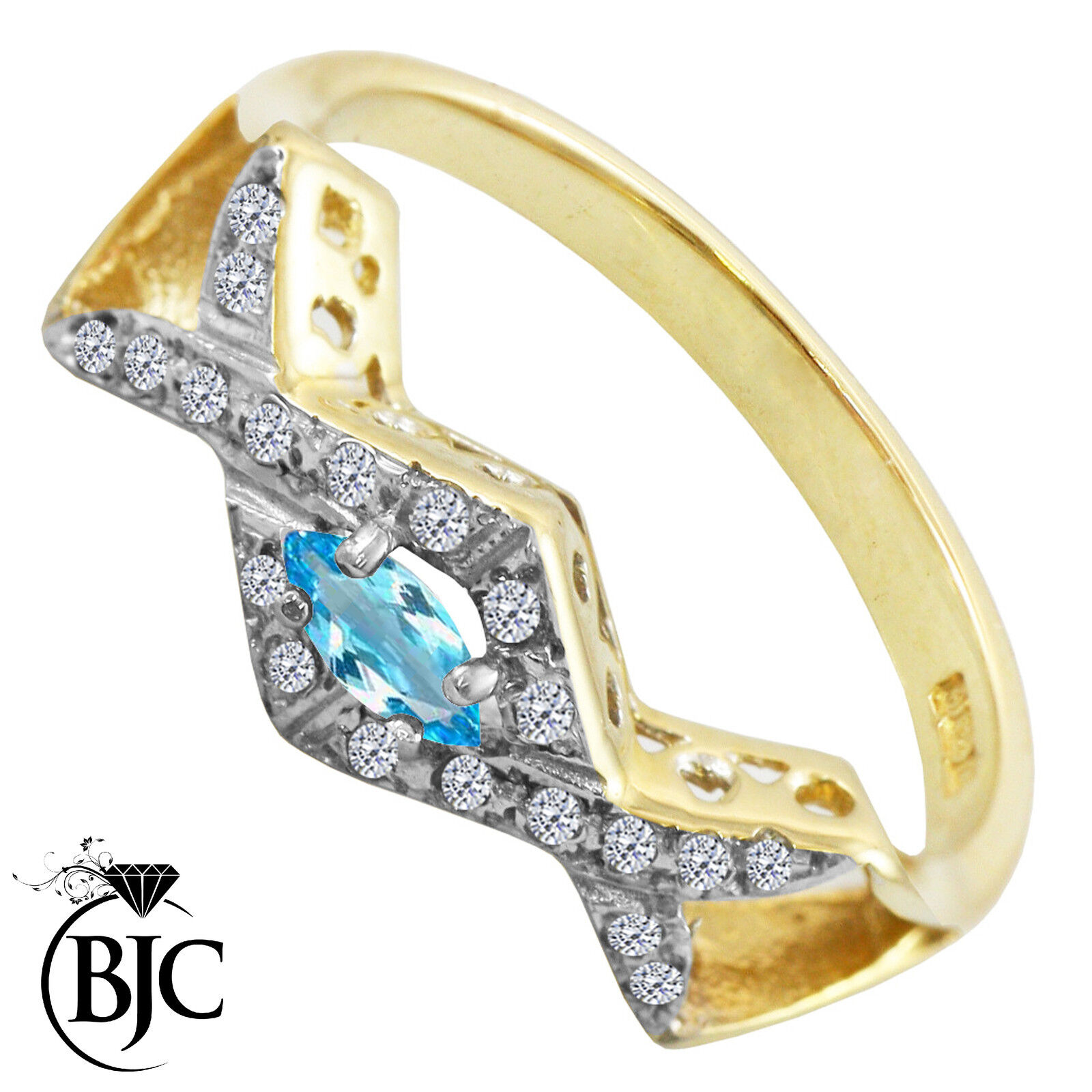 BJC® 9ct Yellow gold bluee Topaz & Diamond Cross Over size O engagement ring R200