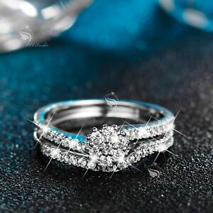 18K-White-Gold-GF-wedding-Ring-Set-Simulated-Diamond-flower-2-Band-Stackable