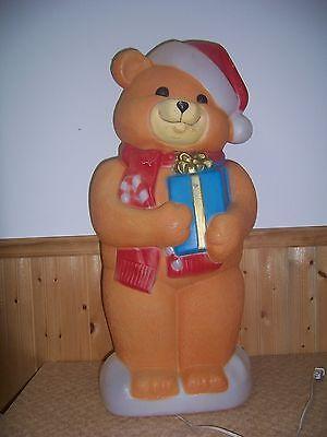 "36"" EMPIRE PLASTICS BLOWMOLD CHRISTMAS YARD DECOR LIGHT TEDDY BEAR & GIFT"