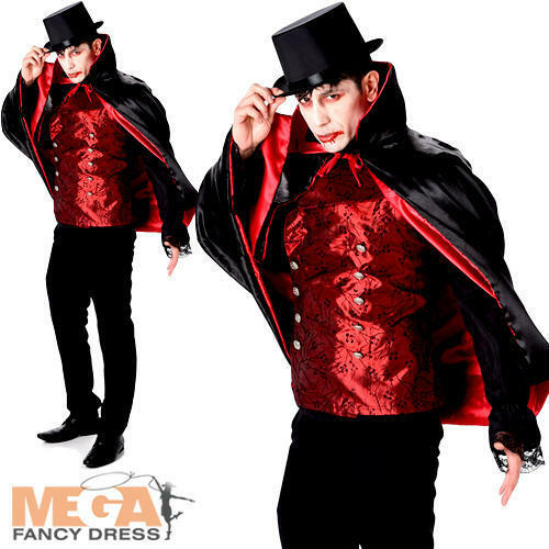 Vampire Lord Mens Fancy Dress Halloween Count Dracula Spooky Adults Costume New
