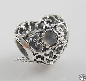 JUNE-SIGNATURE-HEART-Genuine-PANDORA-Grey-Moonstone-BIRTHDAY-Charm-791784MSG-NEW