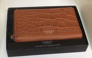 Designer Osprey London Brown Leather Wallet Zip-Round Purse ID Clutch Case NWT