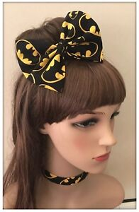 Batman-Bow-Headband-Bandana-Super-Hero-Costume-Superman-Bat-Girl-Fabric-Hair-Tie