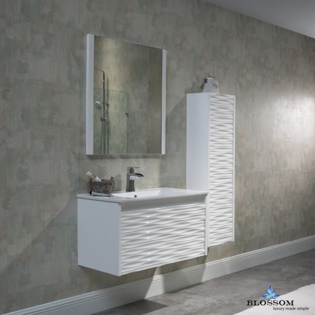 Blossom Paris 24 Single Sink Bathroom Vanity In White With Acrylic Top