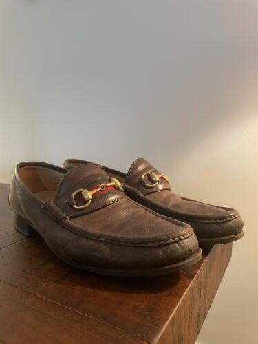 vintage gucci mens loafers Horsebit Brown Size 10