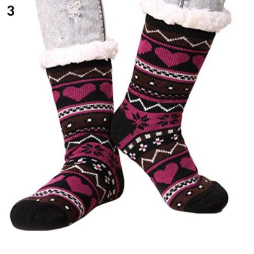 Women Sherpa Slipper Fuzzy Fleece-lined Socks Rubber button Anti Slip 5-11 Socks