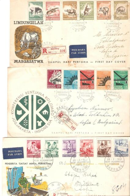 Indonesia Very Nice Lot of 12 Covers + 2 Used Postcard - See scans !!!
