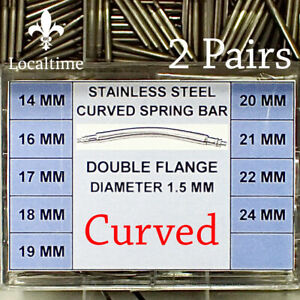 2-Pairs-CURVED-Stainless-Steel-Spring-Bars-For-Watch-Straps-Lug-Width-14mm-24mm