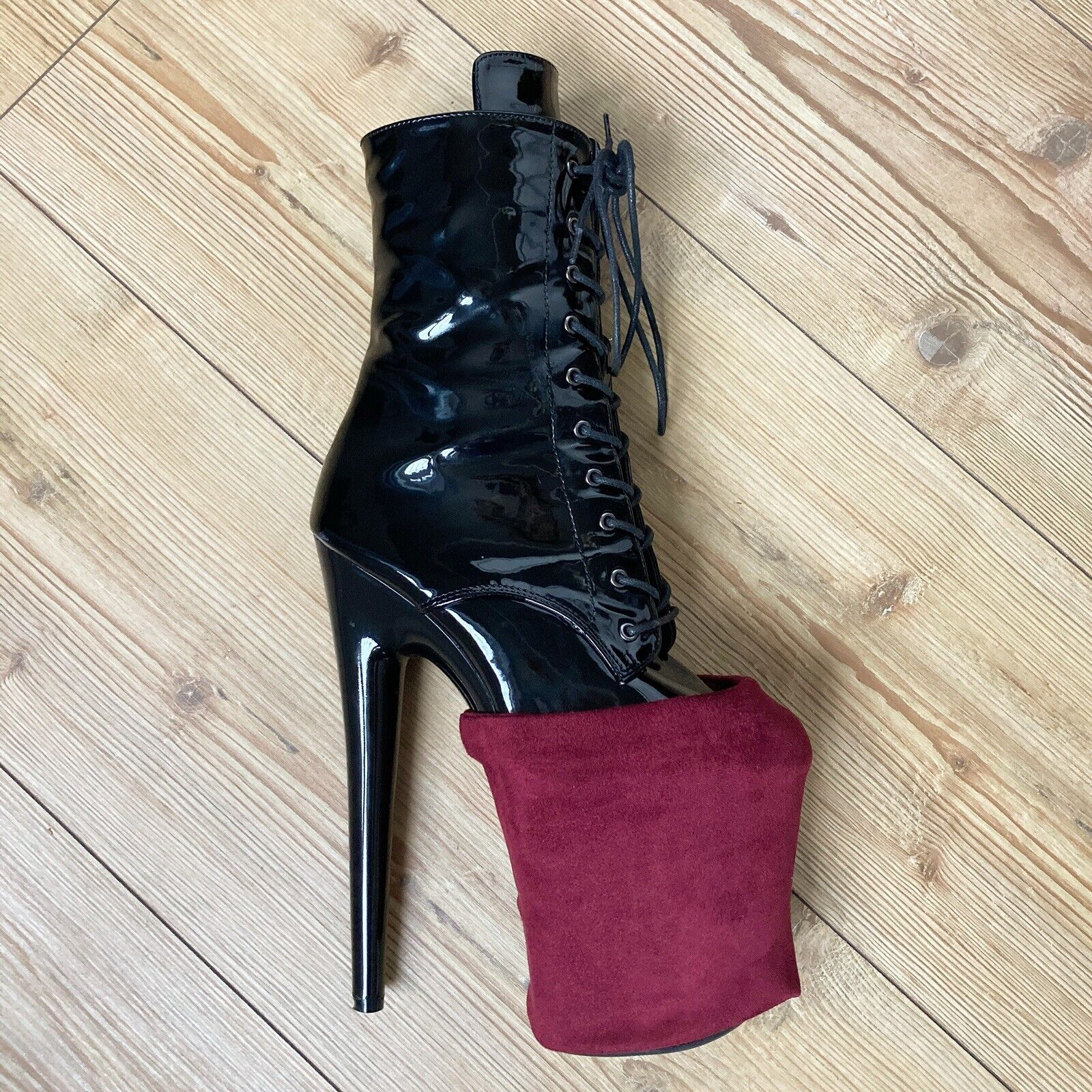 Red Faux Suede Exotic Pole Dancing Pleaser Heel Cover Protectors