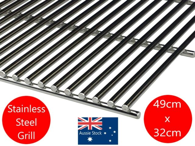 STAINLESS STEEL BBQ GRILL GRILLE PLATE 49  X 32 cm  SOLID 8mm BARS BARBECUE NEW