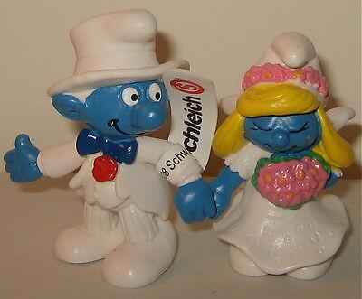 Smurfs 20413 Bride Smurfette Groom Smurf Wedding Cake Figurines Vintage Figures