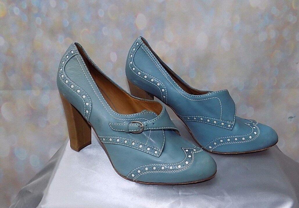 vintage vintage vintage style blue & white HOBBS N.W.3 fitzjohn high brogues - heeled brogue 5 0c5913