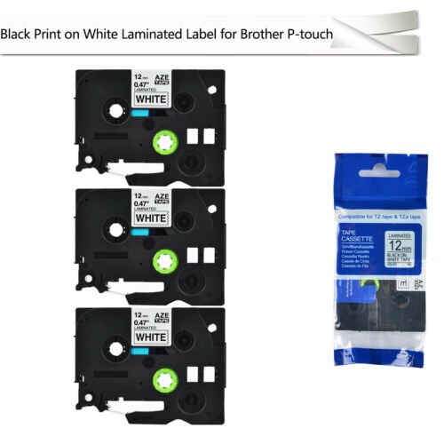 3 PK Black on White TZ 231 TZe 231 Label Tape Compatible for Brother PT1090 1200