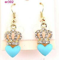 BLUE 1pair Ladys' Gold plated crown crystal blue heart earring dangle er302 HS88