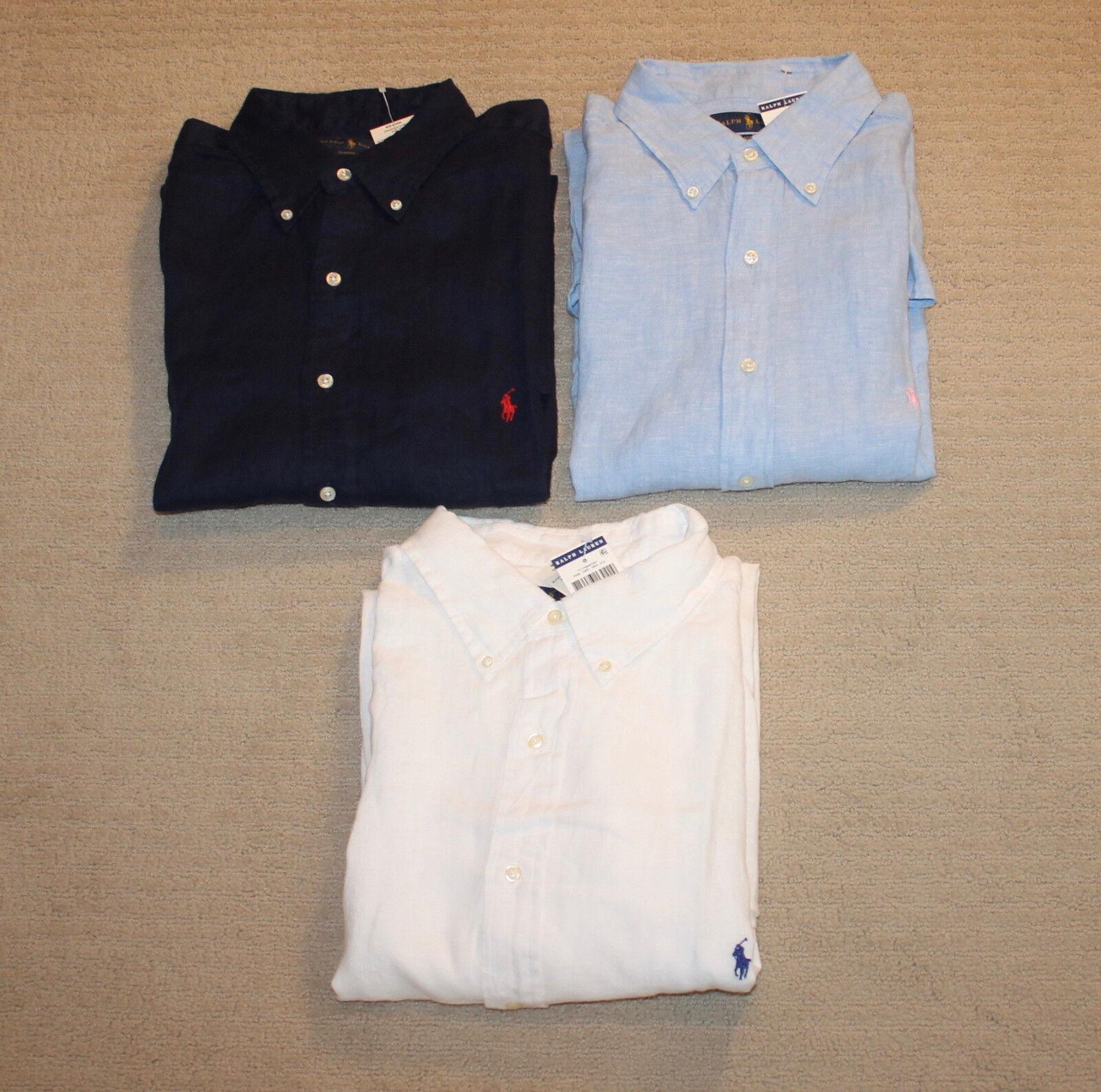 850e53b13 NEW Polo Ralph Lauren Pony Logo Big and Tall Sleeve Linen Shirt Short  nztbko8015-Casual Button-Down Shirts