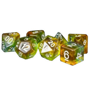 YELLOW AURORA MDG Polyhedral Resin Beautiful And Affordable Dice Set 16mm