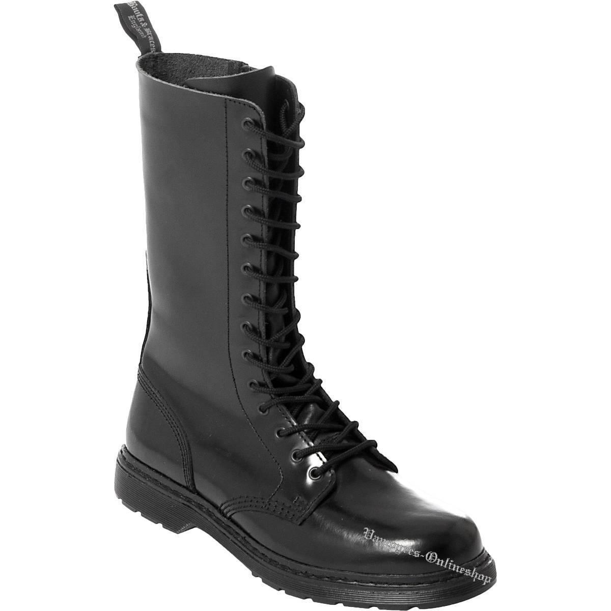 Grandes zapatos con descuento Boots And Braces Easy 14-Loch Schwarz RV mit Reißverschluss Leder Stiefel Schuhe