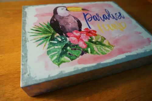 Details about  /Tropical Toucan Palm Watercolor Painting Tiki Bar Beach Home Decor Tin Sign NEW