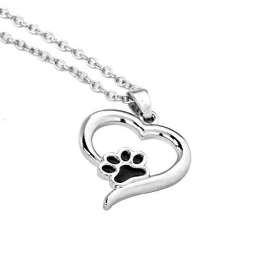 Paw Print Cat Dog Pet Love Heart Pendant Silver Chain Necklace Gifts YU
