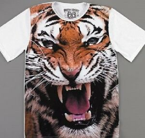 64fc22fe35ee Growling Tiger Face Big Cat Front Sublimation T Shirt_ New with tags ...