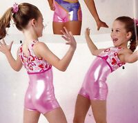 Foil Shorty Unitard Pink Valentines Hearts Girls Sizes Acro Gymnastics Foil