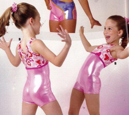NWT FOIL Shorty unitard Pink Valentines Hearts Girls Sizes Acro Gymnastics Foil