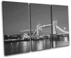 London-Tower-Bridge-Skyline-Night-City-TREBLE-CANVAS-WALL-ART-Picture-Print
