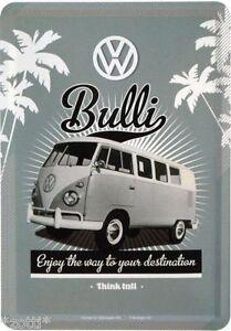 Nostalgic Metal Postcard 10x14 CM VW Bulli Enjoy The Way To Destination