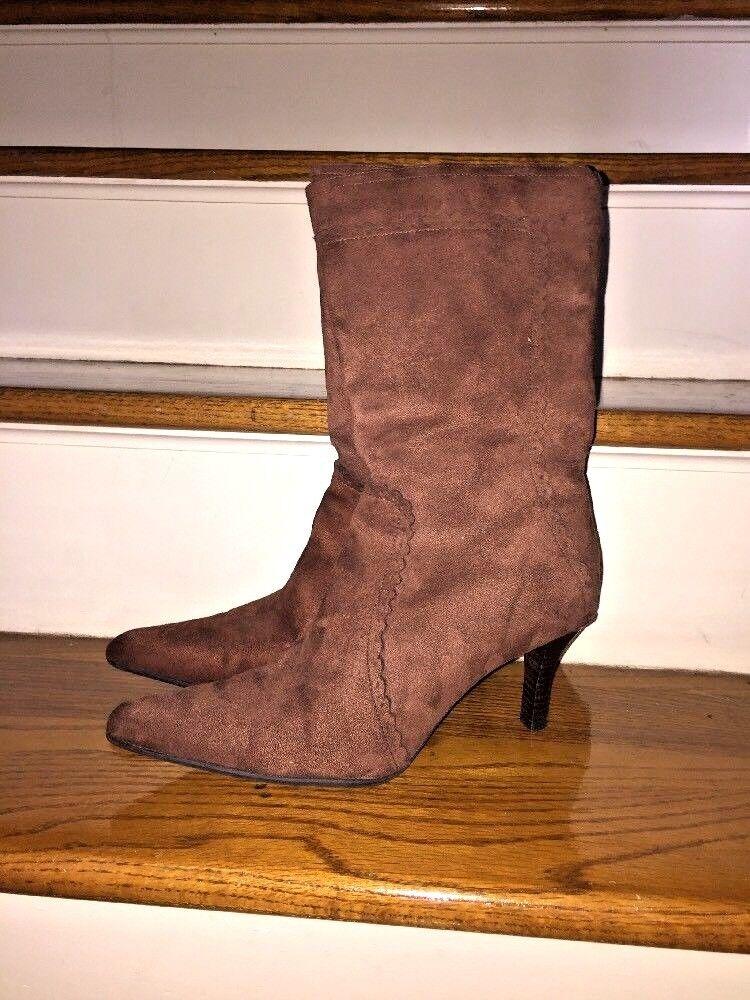 George Women's Suede Mid Calf SEXY High Heels Stilettos Boots Size 10