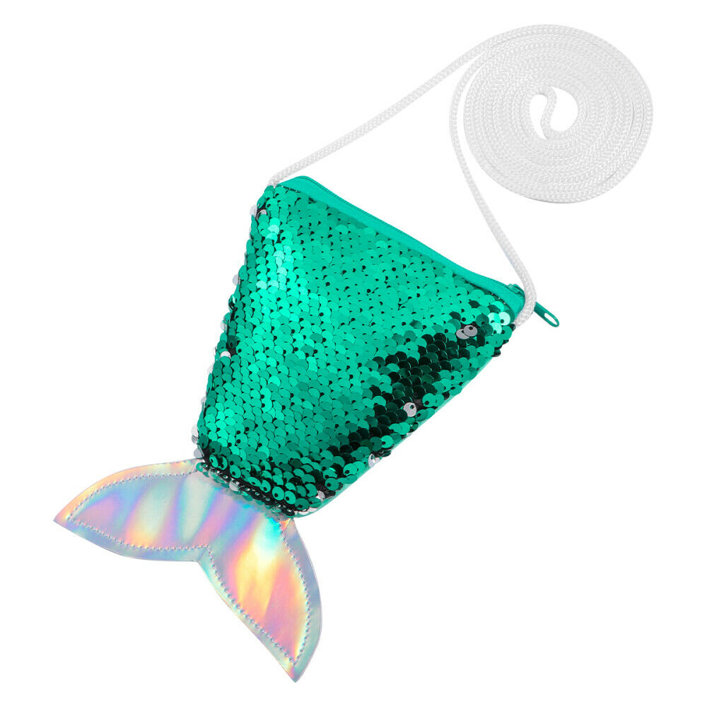 Fenical Women Mermaid Tail Sequins Coin Purse Girls Crossbody Bags Sling Money