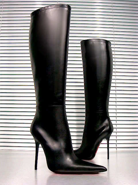 CQ COUTURE CUSTOM KNEE HIGH Stiefel STIEFEL POINTY LEATHER BLACK SCHWARZ 39