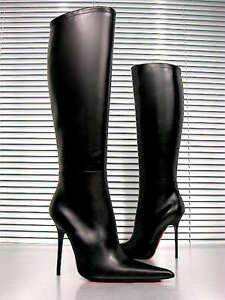 CQ-COUTURE-CUSTOM-KNEE-HIGH-BOOTS-STIEFEL-STIVALI-POINTY-LEATHER-BLACK-NERO-44