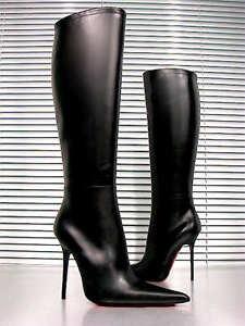 Stivali Cq al nero Stivali Custom Pelle Couture Stiefel Nero ginocchio 36 lucido BBAxqwgSnr