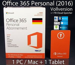microsoft office 365 personal 2016 vollversion box 1 pc mac 1 tablet abo ebay. Black Bedroom Furniture Sets. Home Design Ideas