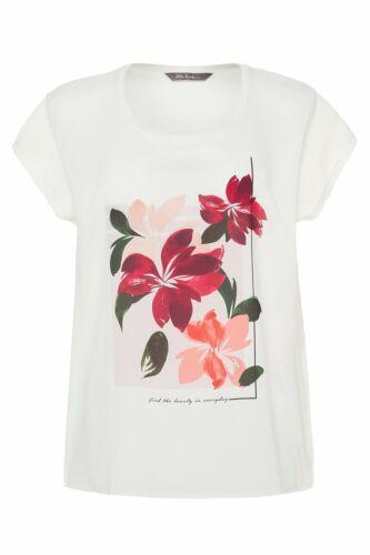 ULLA POPKEN T-Shirt Blütenmotiv Oversized Materialmix multicolor NEU
