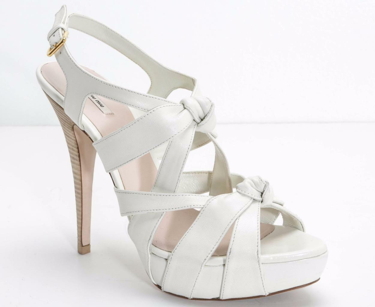 MIU MIU Womens White Leather Knotted Strappy Sandals High-Heel Pumps 10.5-40.5