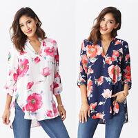New Ladies Womens Chiffon T Shirt Floral Print Long Sleeve Blouse Casual Tops
