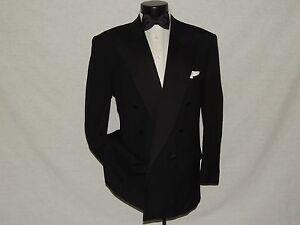 Bill-Blass-mens-classic-Double-Breasted-100-wool-formal-Tuxedo-jacket-coat-42-S