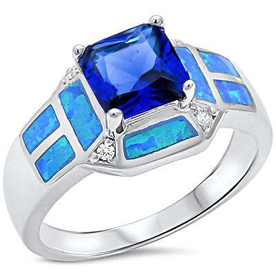 Blue Sapphire, Blue Opal, & Cz Fashion .925 Sterling Silver Ring Sizes 5-10