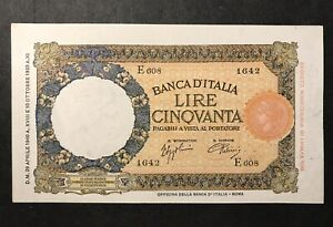 50 LIRE CAPRANESI LUPA CAPITOLINA MARGINE LARGO FASCIO 29/4/1940 SUP+ Italy Rare