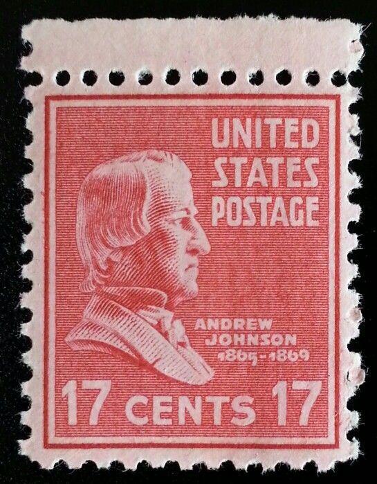 1938 17c Andrew Johnson, 17th U.S. President Scott 822