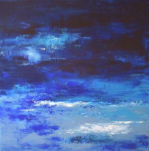 """Paysage, Tableau abstrait, Peinture de Hélène Zenatti """"THE DEEP BLUE SEA"""" 60x60"""