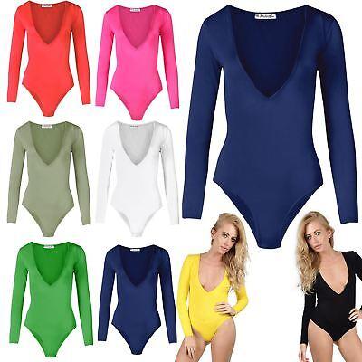 Womens Ladies Long Sleeve Plunge V Neck Low Side Back Bodysuit Leotard Top