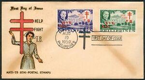 Philippine-1959-Help-Fight-TB-Anti-TB-Semi-Postal-Stamps-FDC