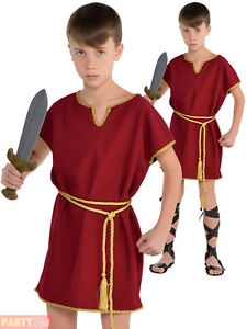 1558d969ed9b Details about Childs Roman Tunic Costume Boys Warrior Toga Burgundy Fancy  Dress Outfit