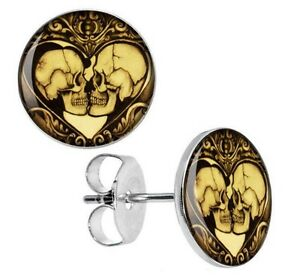 Image Is Loading 2 Pairs 10mm Skull Heart Gothic Stud Earrings