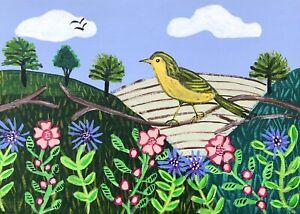Original Painting Warbler In Hedgerow,Folk/naive Art,Bird,Flowers,Country