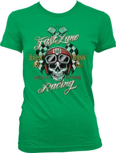 Fast Lane Racing Haulin Ass Burnin Gas Skull Hotrod Auto Car Juniors T-shirt