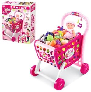 3 IN 1 CHILDREN SHOPPING TROLLEY CART ROLE PLAY PLASTIC FOOD FRUIT SOUND LIGHT